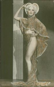 Semi-Nude Sexy Showgirl Pin-Up Exhibit Mutoscope Card - Floral Robe/Costume