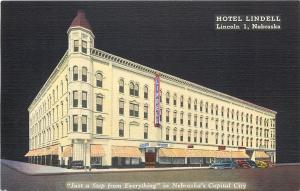 Lincoln NE~Hotel Lindell~Cafe~13th & M Streets~Silhouette on Black Back~1940s