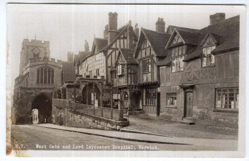 Warwick, West Gate and Lord Leycester Hospital, RPPC