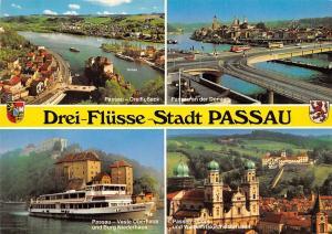 Drei Fluesse Stadt Passau Dreiflusseck Dom Wallfahrtskirche Mariahilf
