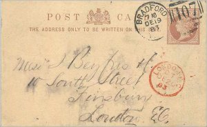 Entier Postal Stationery 1 / 2p Bradford to London 1883
