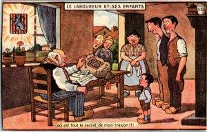 French, The Laborer Plowman and His Children Salt Secret Vintage Postcard A32
