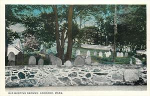 Concord Massachusetts~Old Burying Ground~Tombstones~Rock Wall~1920s Postcard