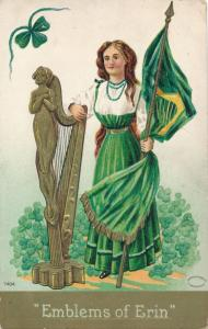 St Patricks Day Greetings - Emblems of Erin - pm 1912 - DB