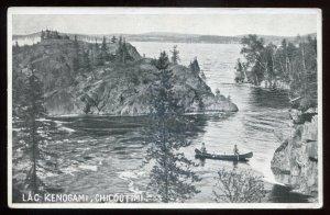 h2429 - CHICOUTIMI Quebec Postcard 1924 Lac Kenogami. Canoeing