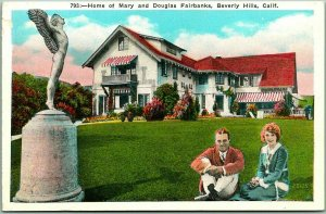 1920s Beverly Hills, CA Postcard Home of Mary (Pickford) & Douglas Fairbanks