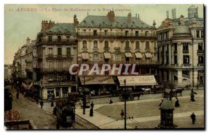 Old Postcard Angers Square rally and street Lenepveu