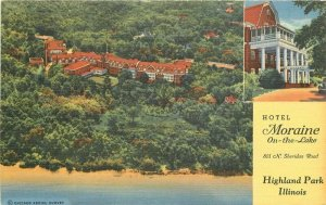 Hotel Moraine On the Lake Highland Park Illinois 1942 Postcard Teich linen 9065