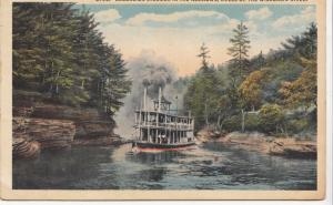 EXCURSION STEAMER IN THE NARROWS, DELLS OF THE WISCONSIN RIVER, used Postcard