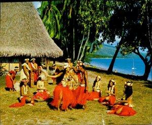 JD0027 tahiti traditional dance group native dancers type ethnics folklore stamp