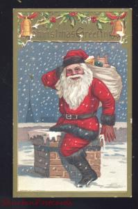 CHRISTMAS GREETINGS LARGE SANTA CLAUS RED ROBE ROOF TOP