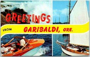 GARIBALDI, Oregon Postcard w/ 2 Boating Scenes Dexter Chrome c1950s Unused