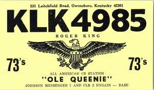 QSL Radio Card From Owensboro Kentucky KLK4985