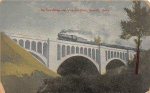F47/ Danville Illinois Postcard c1910 Big Four Railroad Bridge Vermilion River