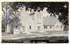 Frederic Wisconsin~Pilgrim Evangelical Lutheran Church~House~1960s RPPC