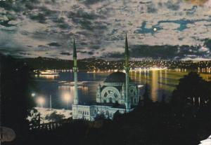 Turkey Istanbul Mosque of Dolmabahce and Bosphorus By Moonlight