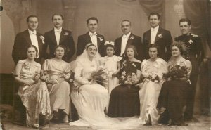 Romania social history wedding photo postcard dated 1937 Buzau bride