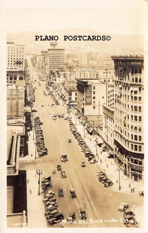 SALT LAKE CITY, UTAH MAIN STREET RPPC REAL PHOTO POSTCARD