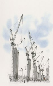 Granary Square London Construction Lift Shafts Painting Postcard