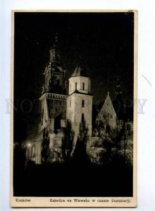 192360 POLAND KRAKOW Wawel Church at night Vintage postcard