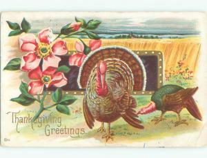 Pre-Linen thanksgiving COLORFUL TURKEYS WITH PINK FLOWERS k8909