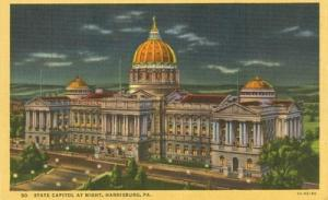 State Capitol at night, Harrisburg, Pa, unused linen Post...