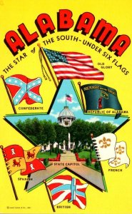 Alabama The Star Of The South Under Six Flags With Confederate Flag