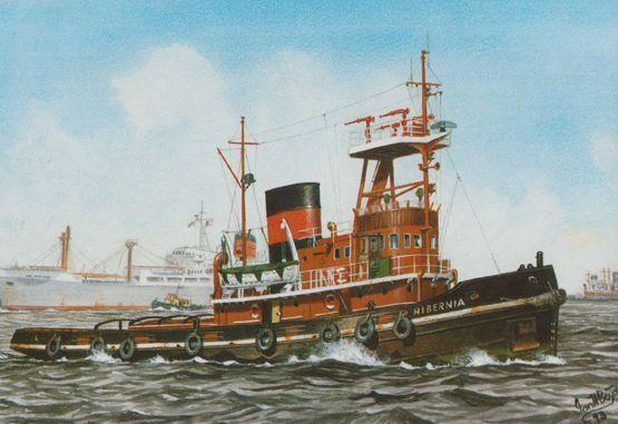 MT Hibernia Tug Boat Ship Watercolour Painting Limited Edition of 1650 Postcard