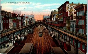 NEW YORK CITY, NY New York   View of the BOWERY  STREETCARS  c1910s   Postcard