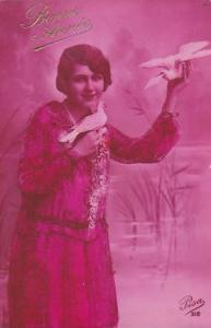 RP; Bonne Annee, Woman holding doves, 00-10s