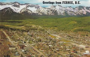 FERNIE, British Columbia, Canada, 1940-1960s; Aerial View