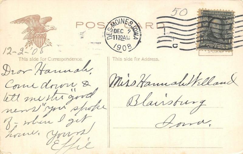 Des Moines Iowa~Picnic Tables in Pavilion~Sahe Trees Along Path 1908 Postcard