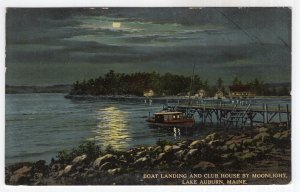 Lake Auburn, Maine, Boat Landing and Club House By Moonlight
