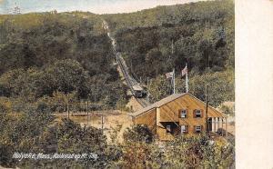 Holyoke Massachusetts~Railroad Up Mt Tom~Trolley Heads to Station~1906 Postcard