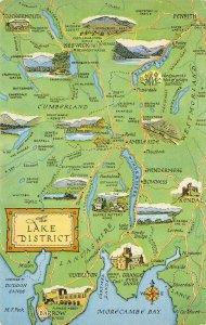 The Lake District Map Postcard, Cumbria, Keswick, Ambleside, Windermere AZ9