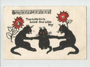 Linen POSTCARD ~ Cats~  Two Little Girls Loved One Little Boy~   Mailed 1907