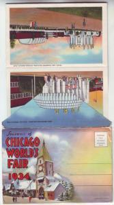 PC61 JLs postcard 1934 chicago worlds fair 18 views foldout