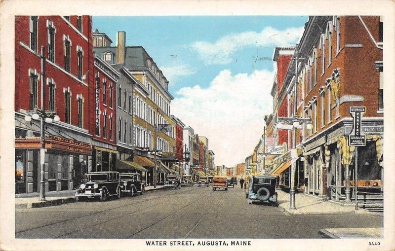 Augusta Maine~201 Water Street~Shoe Store~Restaurant~Lunch~1920s Cars~1934 PC