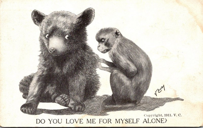 Bear Cub and Monkey Do You Love Me For MYself Alone Signed Colby 1912