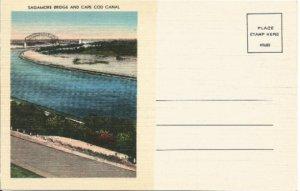Sagamore Bridge and Cape Cod Canal Vintage Postcard Linen Postcard
