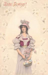 Victorian Easter~Dainty Girl in Lavender Ruffles~White Blossom Egg Border~1906