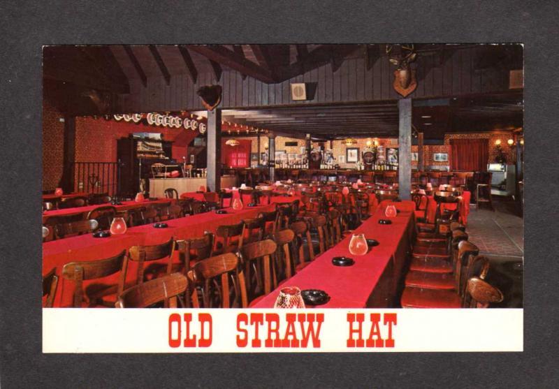 Nj Old Straw Hat Restaurant Green Brook New Jersey Postcard Interior View