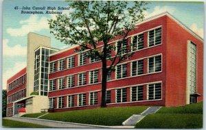 Birmingham, Alabama Postcard JOHN CARROLL HIGH SCHOOL Building View Linen c1940s