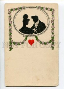 288362 Embossed Heart SILHOUETTE Lovers by CH Vintage postcard