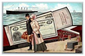 American Bankers Association Travelers Cheques Checks Ship Train Postcard