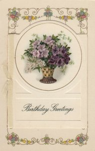 WINSCH ; Birthday Booklet Postcard, Purple Flowers in vase & sunset view, 00-10s
