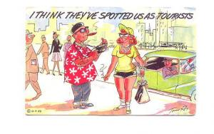 Tony Roy Cartoon I Think They Spotted Us As Tourists, Used 1960