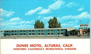ALTURAS, CA California   DUNES  MOTEL    c1960s  Roadside Modoc County  Postcard