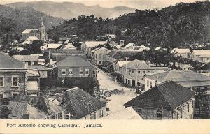 Port Antonio Showing Cathedral Street View Jamaica B. W. I. Postcard