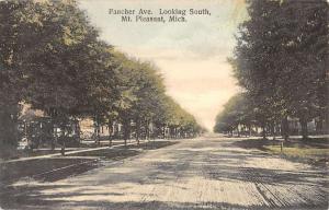 Mt Pleasant Michigan Fancher Ave Looking South Antique Postcard K12144